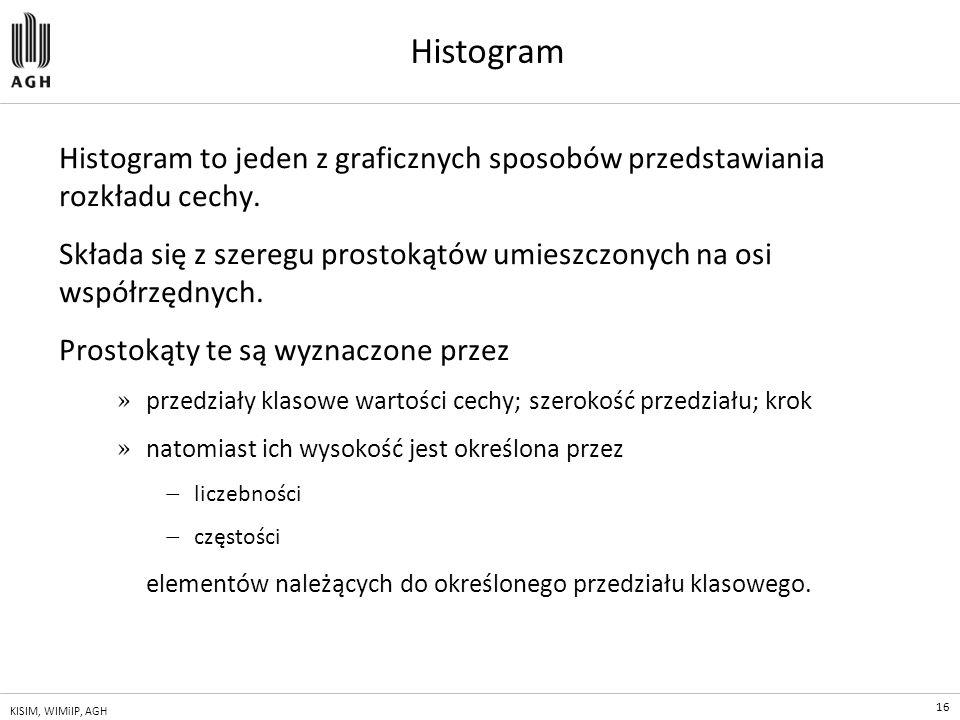 16 KISIM, WIMiIP, AGH Histogram Histogram to jeden z graficznych sposobów przedstawiania rozkładu cechy. Składa się z szeregu prostokątów umieszczonyc