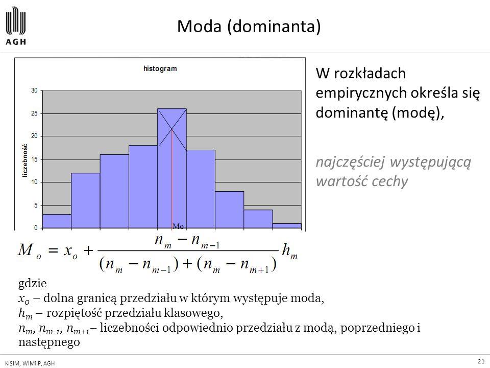 21 KISIM, WIMiIP, AGH Moda (dominanta) W rozkładach empirycznych określa się dominantę (modę), najczęściej występującą wartość cechy gdzie x 0 – dolna