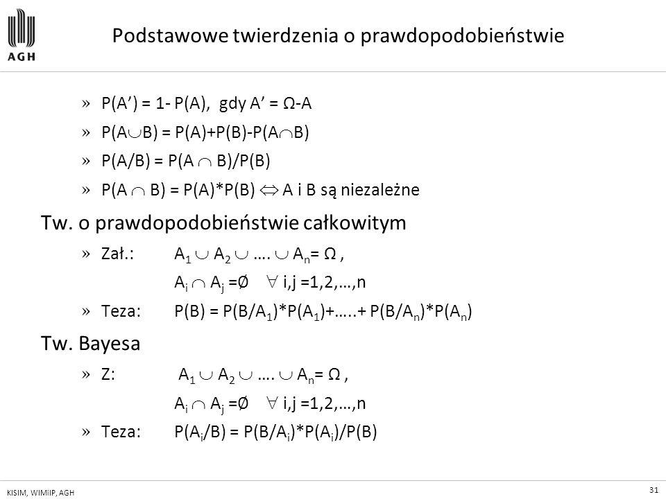 31 KISIM, WIMiIP, AGH Podstawowe twierdzenia o prawdopodobieństwie » P(A') = 1- P(A), gdy A' = Ω-A » P(A  B) = P(A)+P(B)-P(A  B) » P(A/B) = P(A  B)