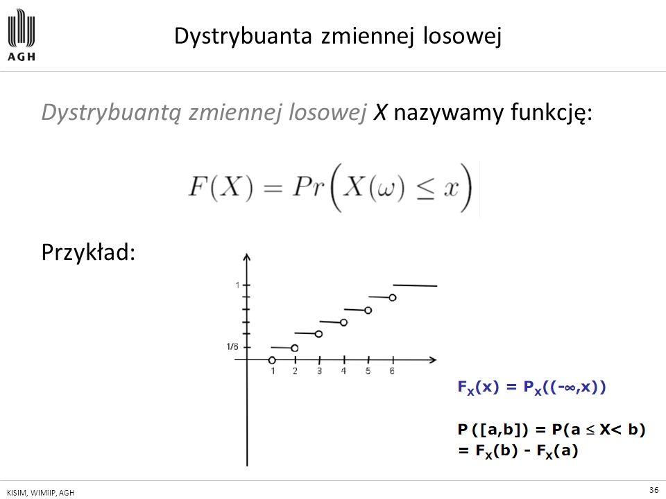 36 KISIM, WIMiIP, AGH Dystrybuanta zmiennej losowej Dystrybuantą zmiennej losowej X nazywamy funkcję: Przykład: