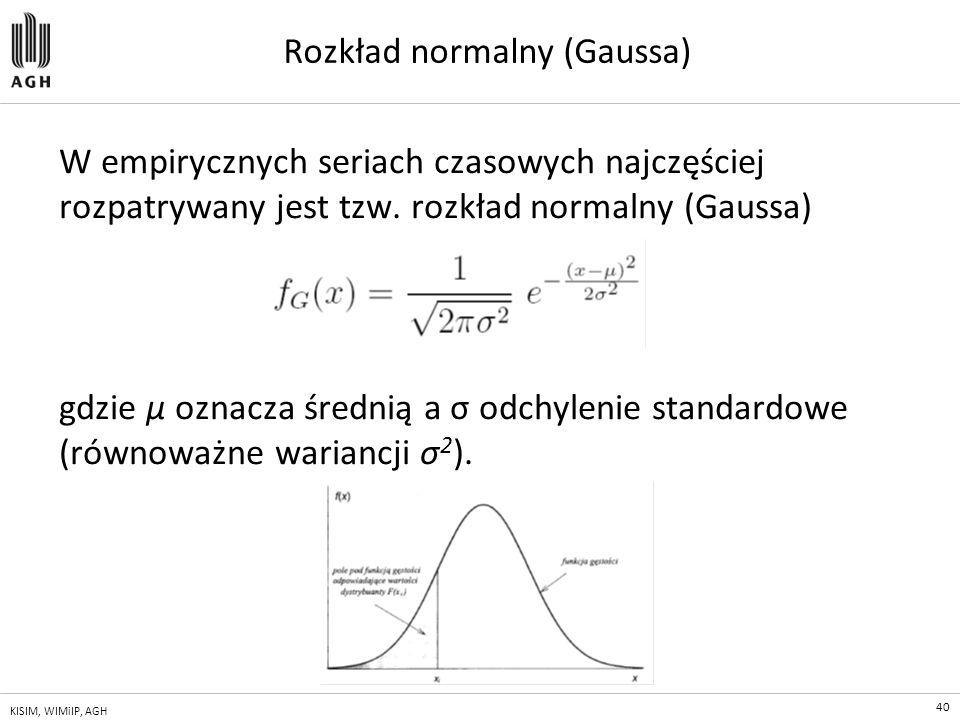 40 KISIM, WIMiIP, AGH Rozkład normalny (Gaussa) W empirycznych seriach czasowych najczęściej rozpatrywany jest tzw. rozkład normalny (Gaussa) gdzie μ