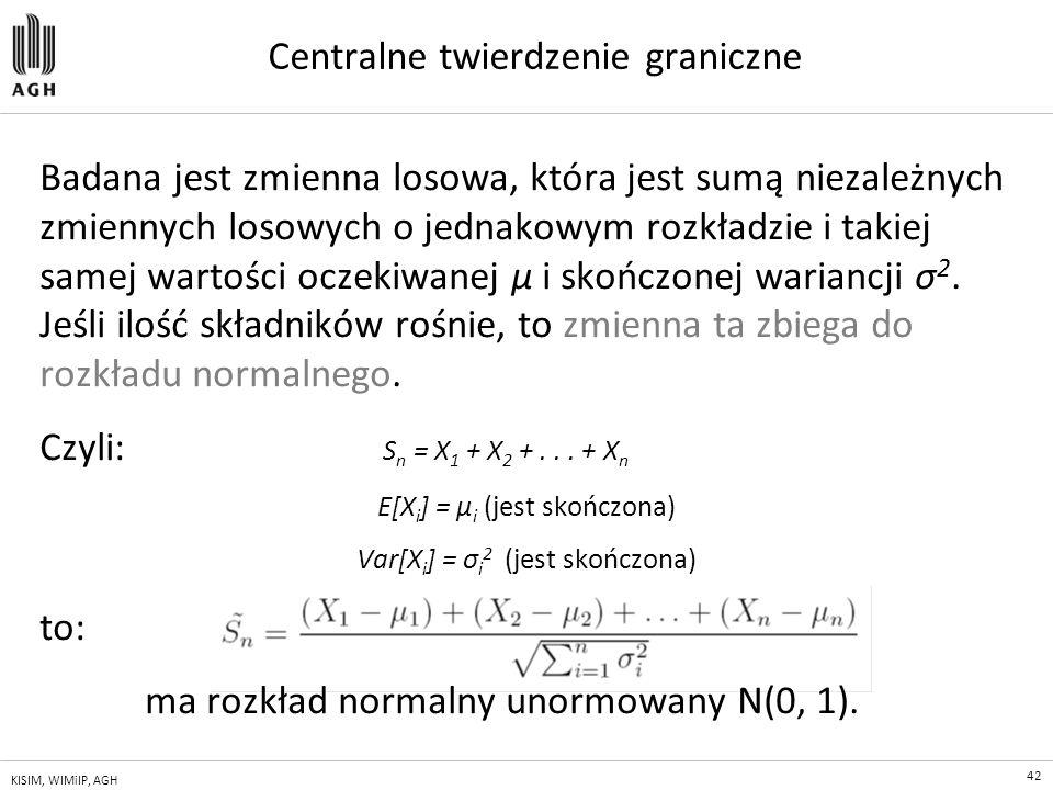 42 KISIM, WIMiIP, AGH Centralne twierdzenie graniczne Badana jest zmienna losowa, która jest sumą niezależnych zmiennych losowych o jednakowym rozkład