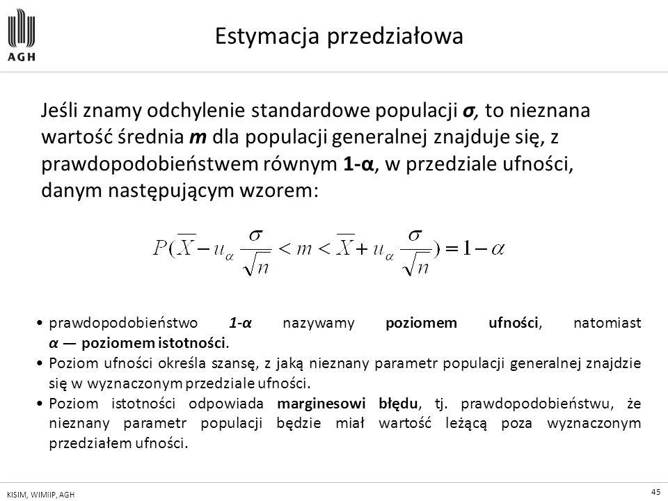 45 KISIM, WIMiIP, AGH Estymacja przedziałowa Jeśli znamy odchylenie standardowe populacji σ, to nieznana wartość średnia m dla populacji generalnej zn