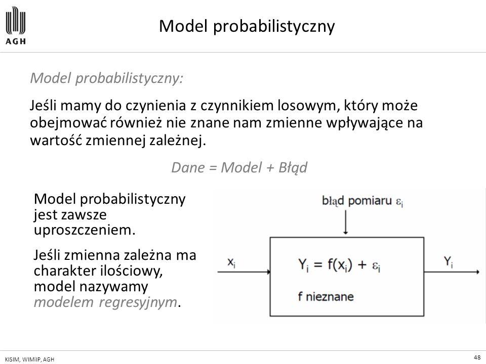 48 KISIM, WIMiIP, AGH Model probabilistyczny Model probabilistyczny: Jeśli mamy do czynienia z czynnikiem losowym, który może obejmować również nie zn