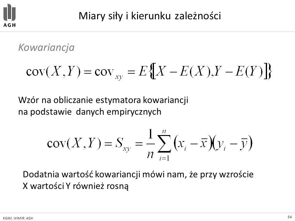54 KISIM, WIMiIP, AGH Miary siły i kierunku zależności Wzór na obliczanie estymatora kowariancji na podstawie danych empirycznych Kowariancja Dodatnia
