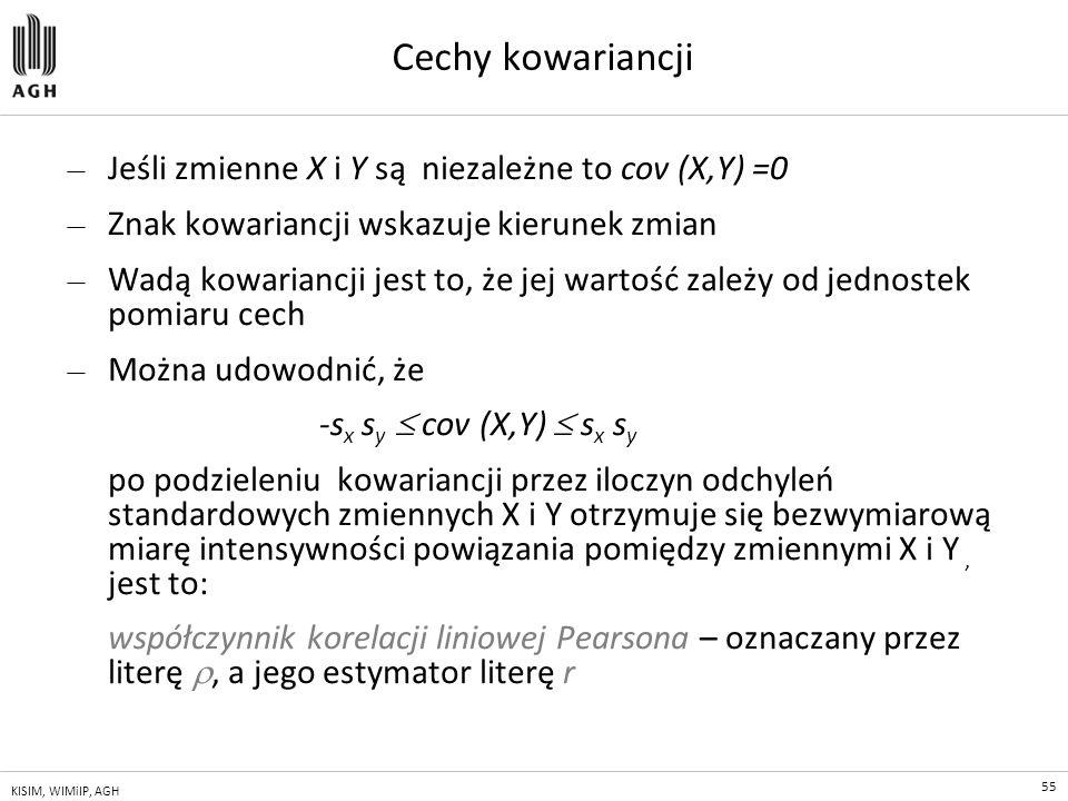55 KISIM, WIMiIP, AGH Cechy kowariancji — Jeśli zmienne X i Y są niezależne to cov (X,Y) =0 — Znak kowariancji wskazuje kierunek zmian — Wadą kowarian