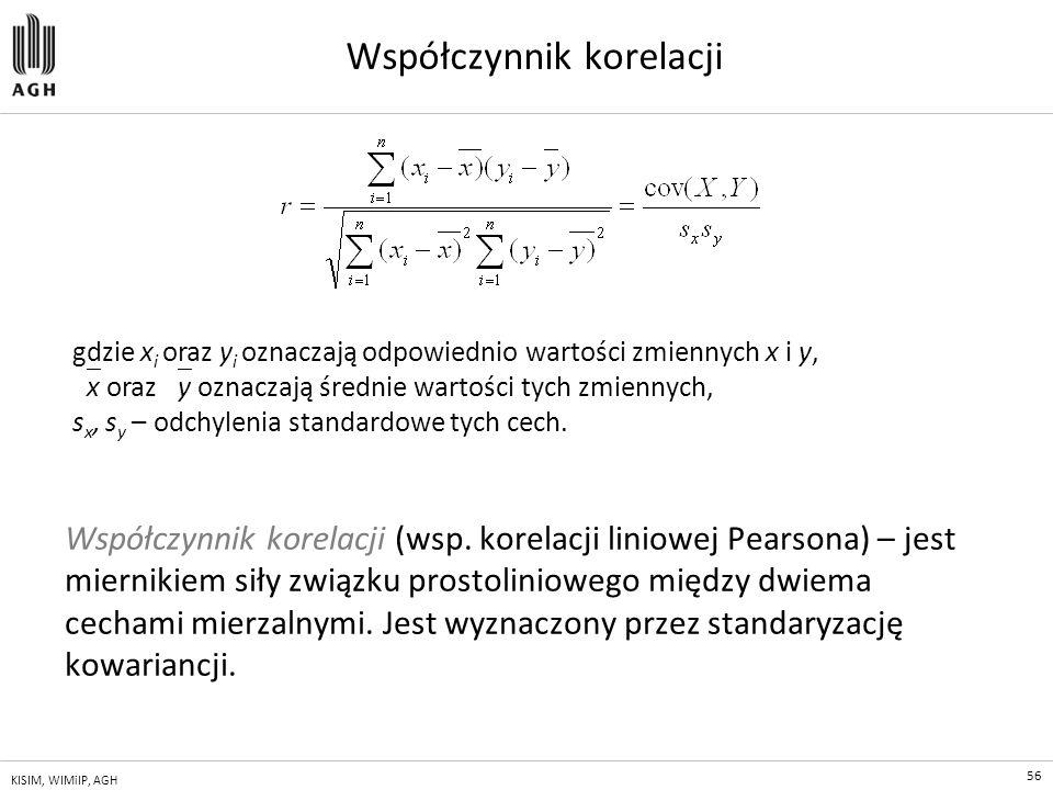 56 KISIM, WIMiIP, AGH Współczynnik korelacji Współczynnik korelacji (wsp. korelacji liniowej Pearsona) – jest miernikiem siły związku prostoliniowego