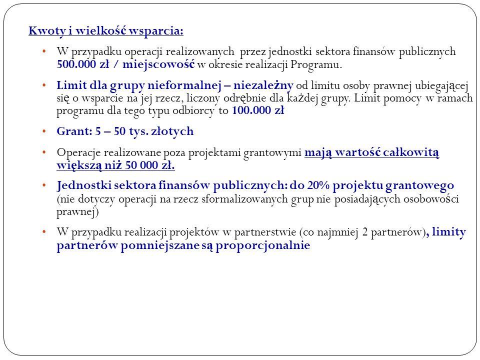 Kwoty i wielko ść wsparcia: W przypadku operacji realizowanych przez jednostki sektora finansów publicznych 500.000 zł / miejscowo ść w okresie realizacji Programu.