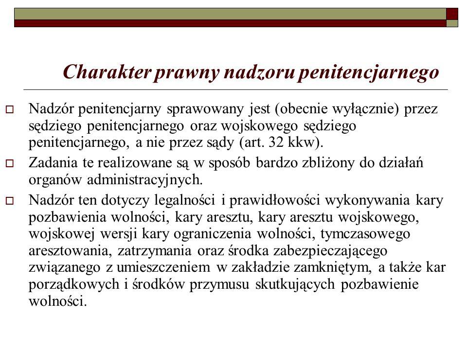 Charakter prawny nadzoru penitencjarnego  Nadzór penitencjarny sprawowany jest (obecnie wyłącznie) przez sędziego penitencjarnego oraz wojskowego sędziego penitencjarnego, a nie przez sądy (art.