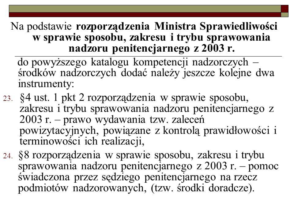 Na podstawie rozporządzenia Ministra Sprawiedliwości w sprawie sposobu, zakresu i trybu sprawowania nadzoru penitencjarnego z 2003 r.