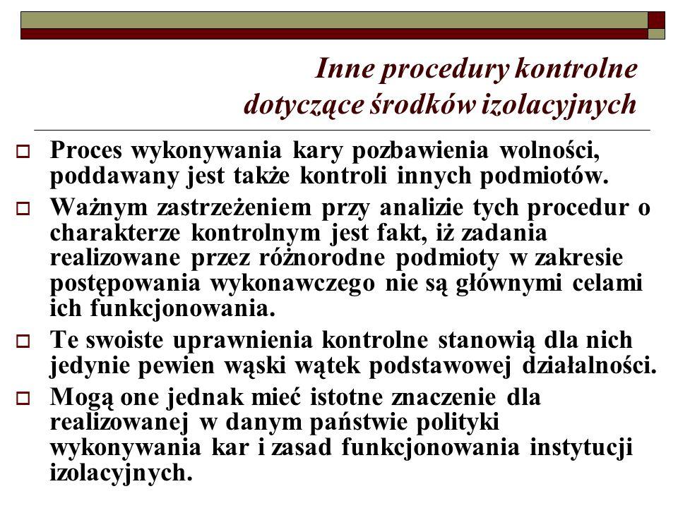 Inne procedury kontrolne dotyczące środków izolacyjnych  Proces wykonywania kary pozbawienia wolności, poddawany jest także kontroli innych podmiotów.