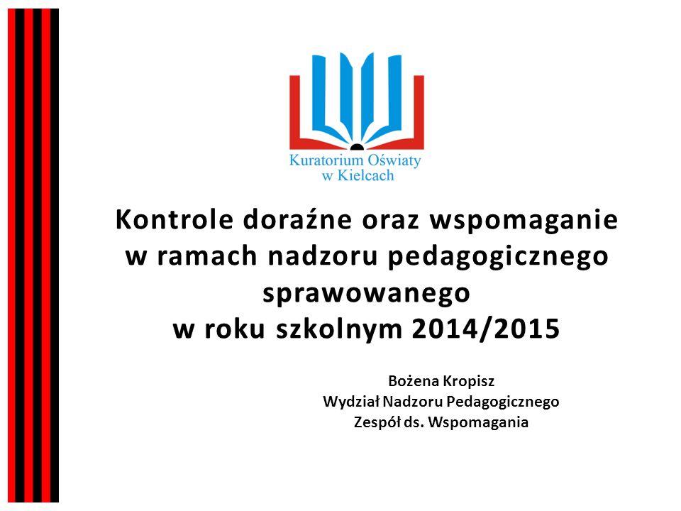 sprawowanego w roku szkolnym 2014/2015 Kontrole doraźne oraz wspomaganie w ramach nadzoru pedagogicznego sprawowanego w roku szkolnym 2014/2015 Bożena Kropisz Wydział Nadzoru Pedagogicznego Zespół ds.
