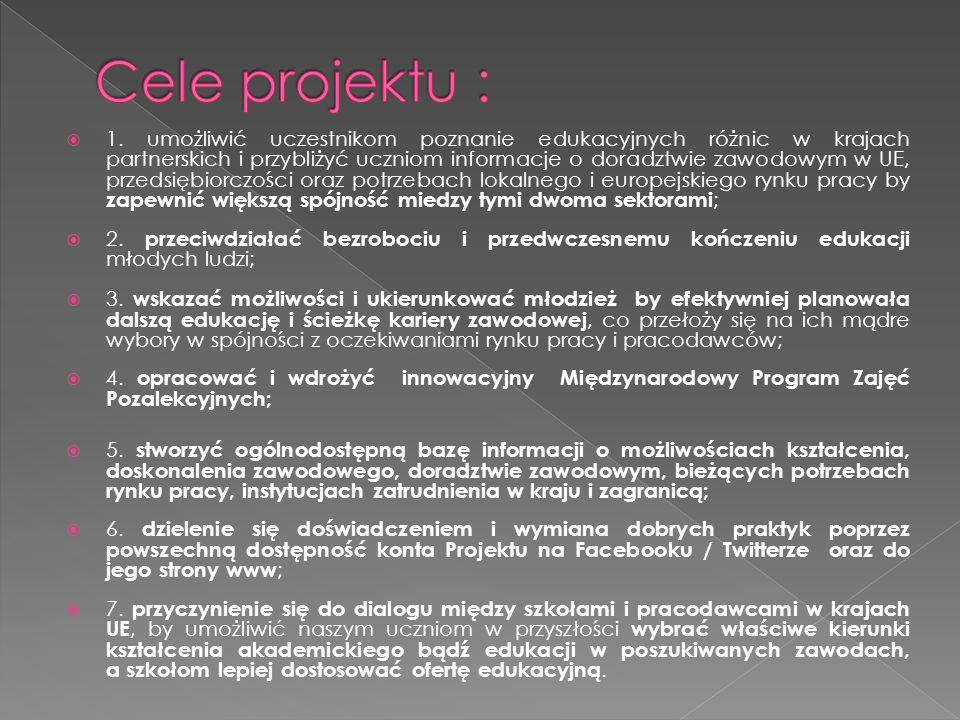  1. umożliwić uczestnikom poznanie edukacyjnych różnic w krajach partnerskich i przybliżyć uczniom informacje o doradztwie zawodowym w UE, przedsiębi