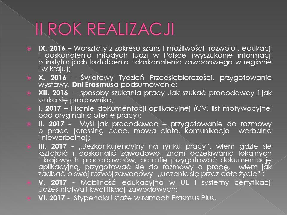  IX. 2016 – Warsztaty z zakresu szans i możliwości rozwoju, edukacji i doskonalenia młodych ludzi w Polsce (wyszukanie informacji o instytucjach kszt