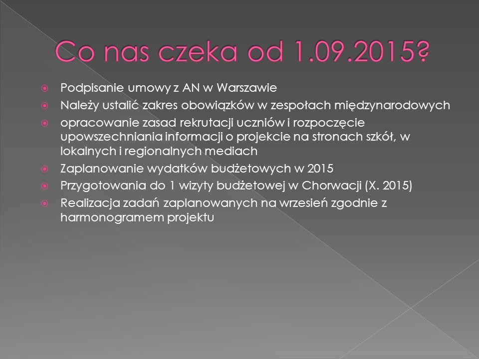  Podpisanie umowy z AN w Warszawie  Należy ustalić zakres obowiązków w zespołach międzynarodowych  opracowanie zasad rekrutacji uczniów i rozpoczęcie upowszechniania informacji o projekcie na stronach szkół, w lokalnych i regionalnych mediach  Zaplanowanie wydatków budżetowych w 2015  Przygotowania do 1 wizyty budżetowej w Chorwacji (X.