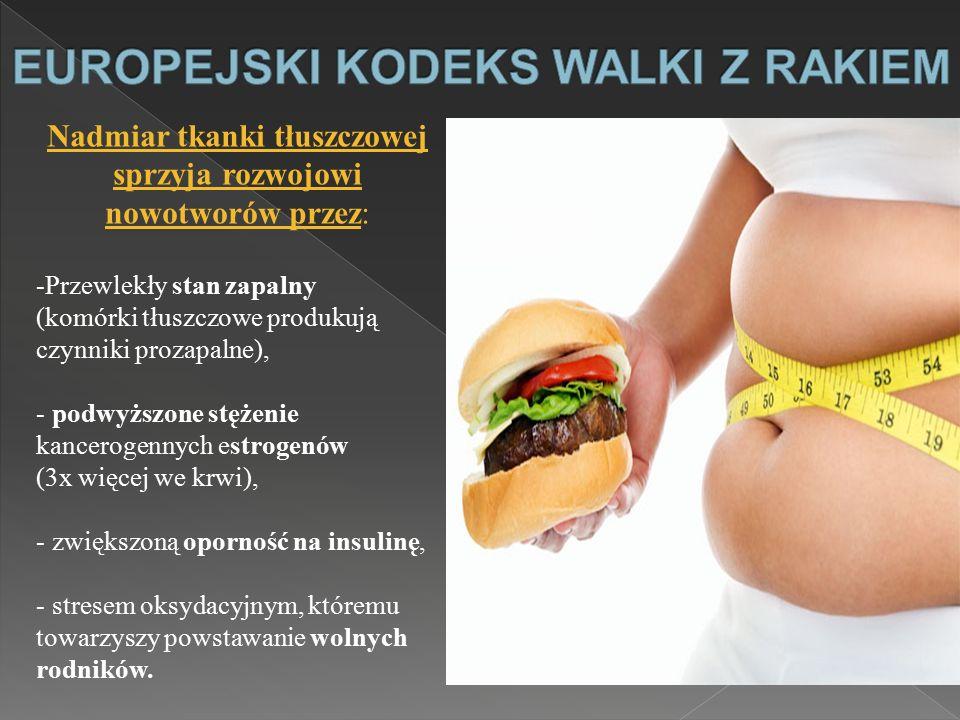 Nadmiar tkanki tłuszczowej sprzyja rozwojowi nowotworów przez: -Przewlekły stan zapalny (komórki tłuszczowe produkują czynniki prozapalne), - podwyższ