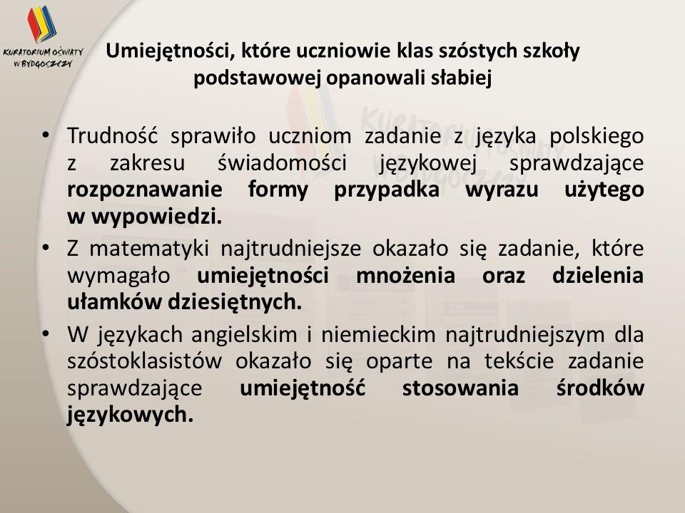 Umiejętności, które uczniowie klas szóstych szkoły podstawowej opanowali słabiej Trudność sprawiło uczniom zadanie z języka polskiego z zakresu świado