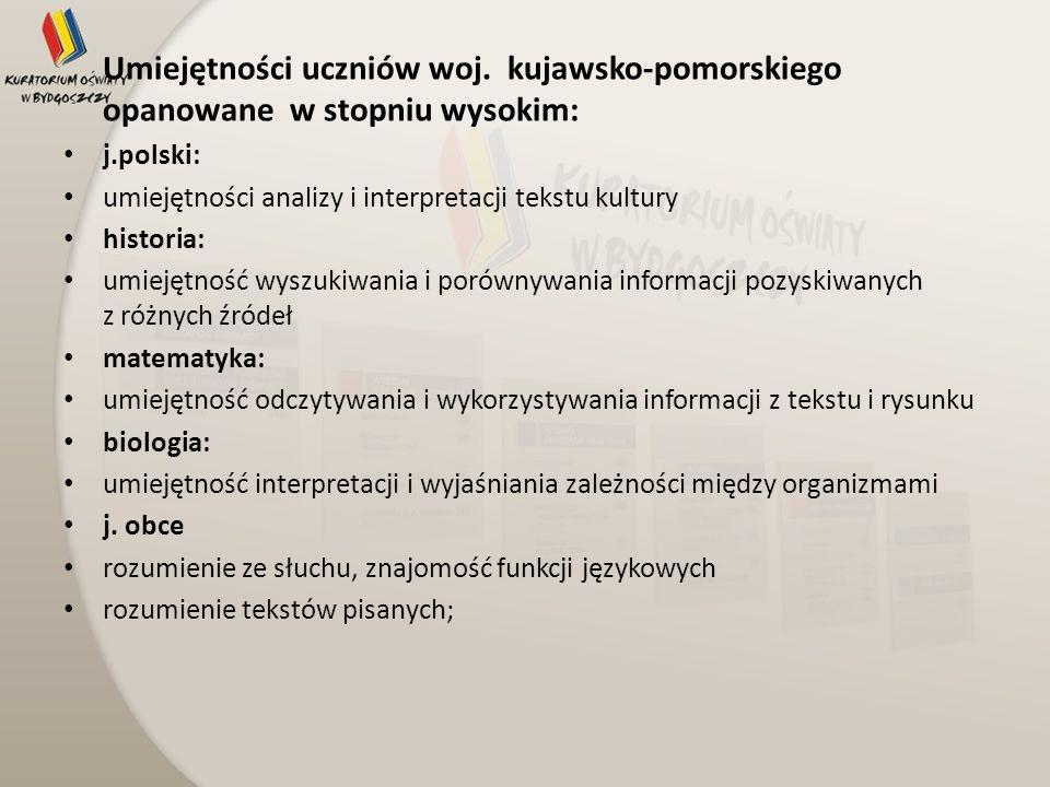 Umiejętności uczniów woj. kujawsko-pomorskiego opanowane w stopniu wysokim: j.polski: umiejętności analizy i interpretacji tekstu kultury historia: um