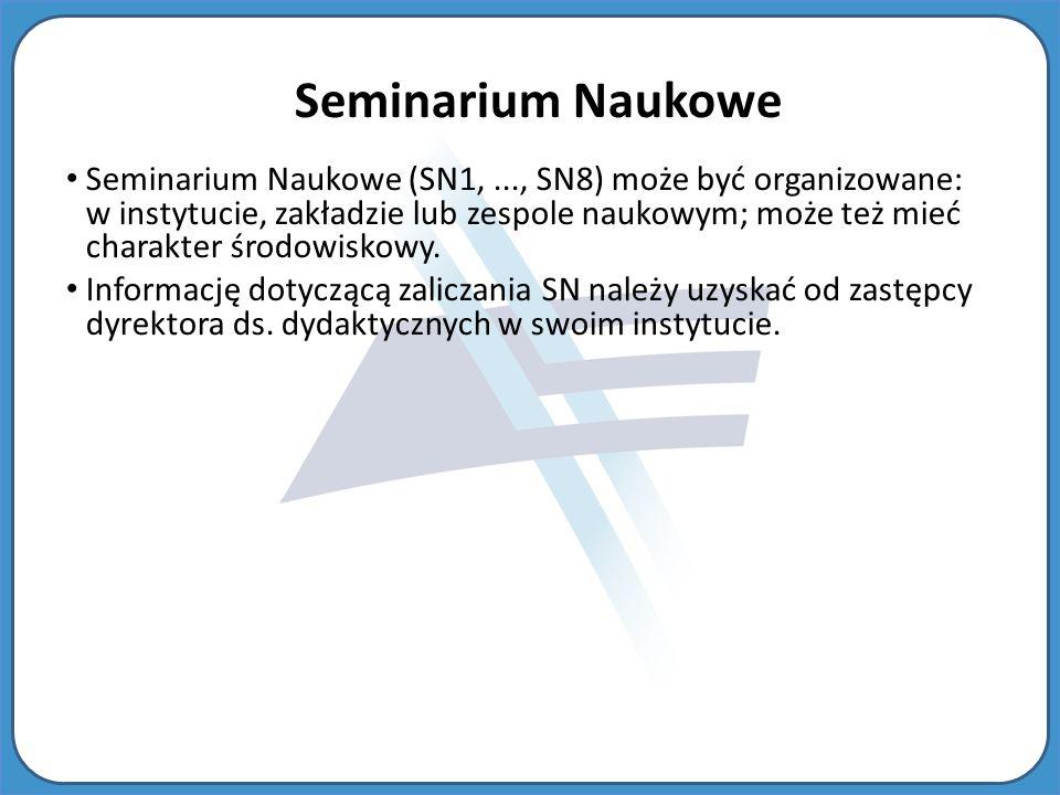 Seminarium Naukowe Seminarium Naukowe (SN1,..., SN8) może być organizowane: w instytucie, zakładzie lub zespole naukowym; może też mieć charakter środowiskowy.
