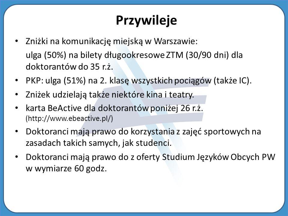Zniżki na komunikację miejską w Warszawie: ulga (50%) na bilety długookresowe ZTM (30/90 dni) dla doktorantów do 35 r.ż.
