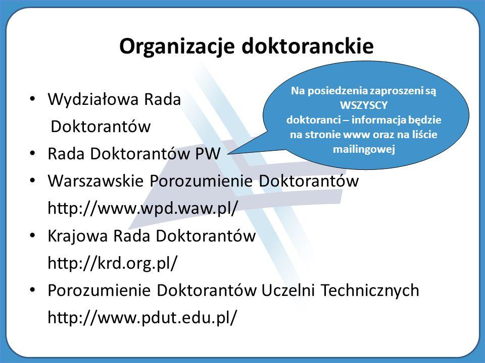 Wydziałowa Rada Doktorantów Rada Doktorantów PW Warszawskie Porozumienie Doktorantów http://www.wpd.waw.pl/ Krajowa Rada Doktorantów http://krd.org.pl/ Porozumienie Doktorantów Uczelni Technicznych http://www.pdut.edu.pl/ Organizacje doktoranckie Na posiedzenia zaproszeni są WSZYSCY doktoranci – informacja będzie na stronie www oraz na liście mailingowej