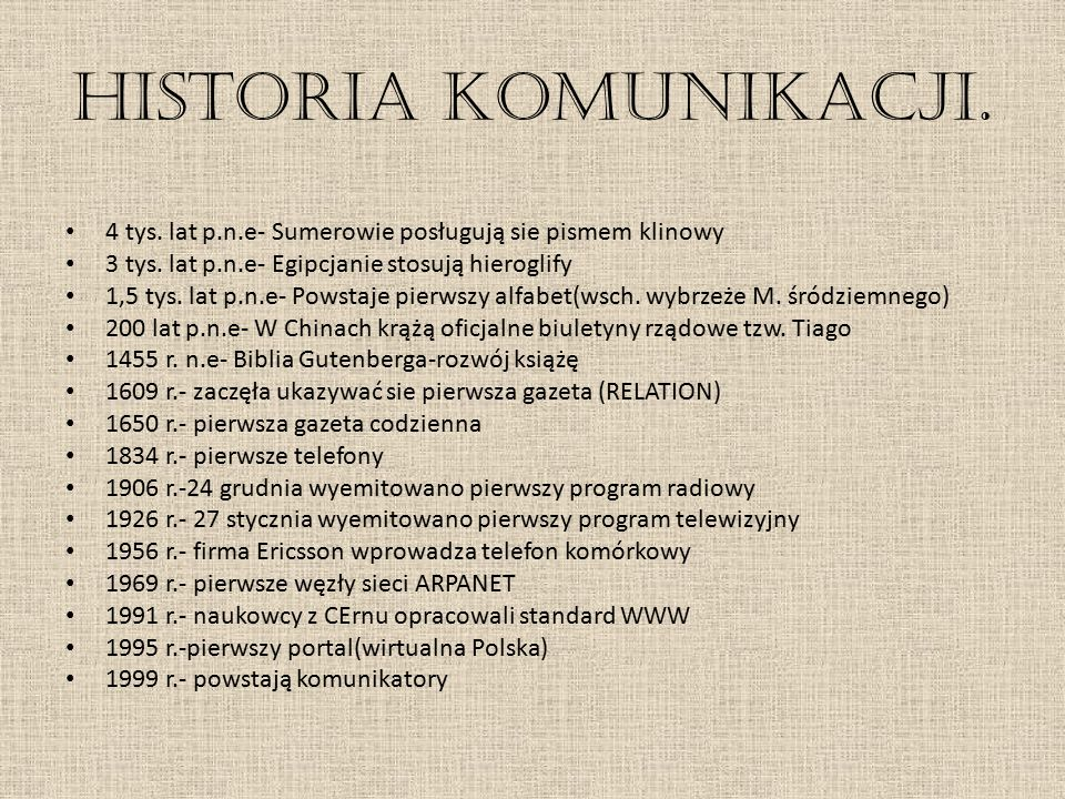 Historia komunikacji. 4 tys. lat p.n.e- Sumerowie posługują sie pismem klinowy 3 tys. lat p.n.e- Egipcjanie stosują hieroglify 1,5 tys. lat p.n.e- Pow