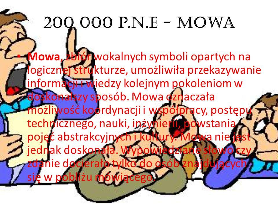 200 000 p.n.e - Mowa Mowa, zbiór wokalnych symboli opartych na logicznej strukturze, umożliwiła przekazywanie informacji i wiedzy kolejnym pokoleniom