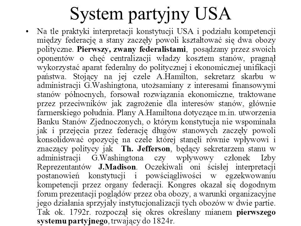 System partyjny USA Na tle praktyki interpretacji konstytucji USA i podziału kompetencji między federację a stany zaczęły powoli kształtować się dwa obozy polityczne.