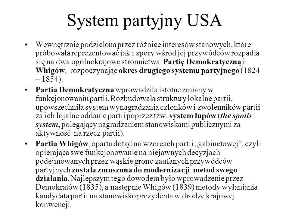 System partyjny USA Wewnętrznie podzielona przez różnice interesów stanowych, które próbowała reprezentować jak i spory wśród jej przywódców rozpadła się na dwa ogólnokrajowe stronnictwa: Partię Demokratyczną i Whigów, rozpoczynając okres drugiego systemu partyjnego (1824 – 1854).