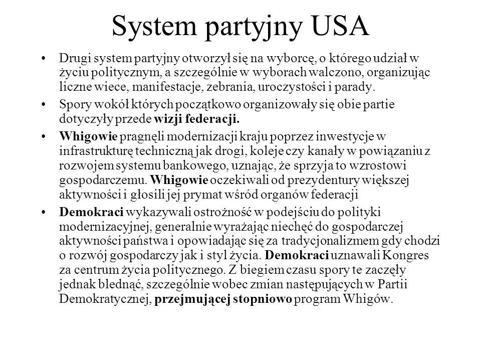 System partyjny USA Drugi system partyjny otworzył się na wyborcę, o którego udział w życiu politycznym, a szczególnie w wyborach walczono, organizując liczne wiece, manifestacje, zebrania, uroczystości i parady.