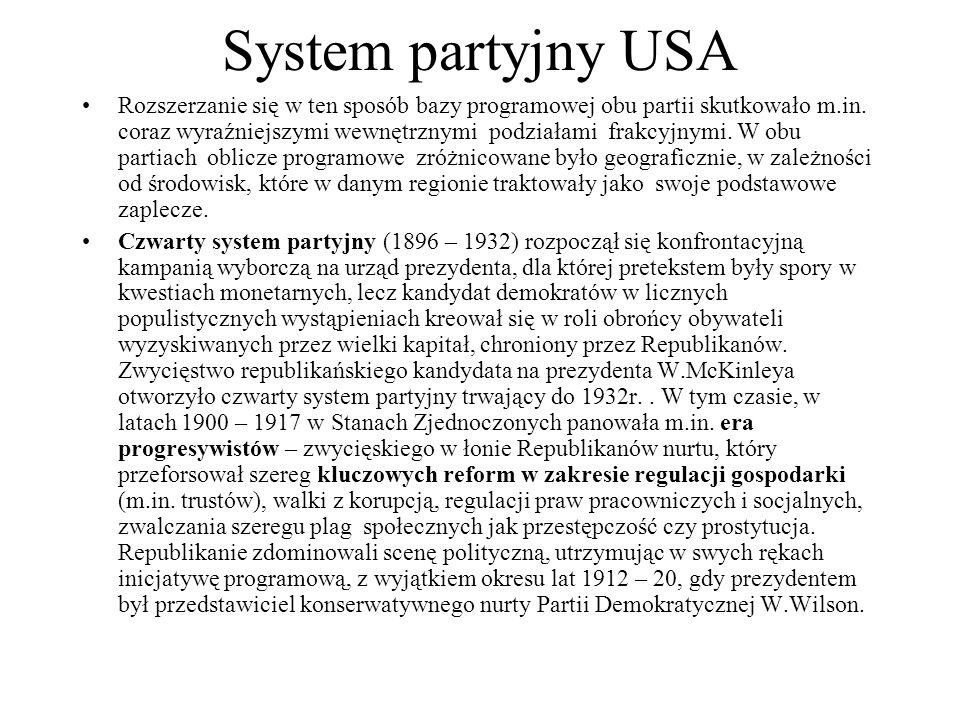 System partyjny USA Rozszerzanie się w ten sposób bazy programowej obu partii skutkowało m.in.