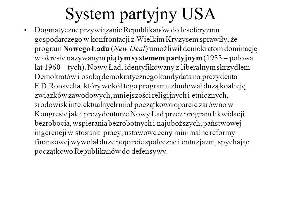 System partyjny USA Dogmatyczne przywiązanie Republikanów do leseferyzmu gospodarczego w konfrontacji z Wielkim Kryzysem sprawiły, że program Nowego Ładu (New Deal) umożliwił demokratom dominację w okresie nazywanym piątym systemem partyjnym (1933 – połowa lat 1960 – tych).
