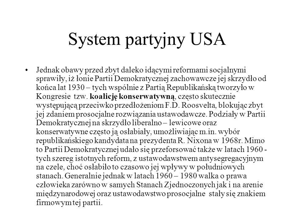 System partyjny USA Jednak obawy przed zbyt daleko idącymi reformami socjalnymi sprawiły, iż łonie Partii Demokratycznej zachowawcze jej skrzydło od końca lat 1930 – tych wspólnie z Partią Republikańską tworzyło w Kongresie tzw.