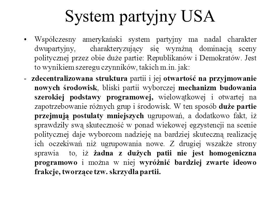 System partyjny USA Współczesny amerykański system partyjny ma nadal charakter dwupartyjny, charakteryzujący się wyraźną dominacją sceny politycznej przez obie duże partie: Republikanów i Demokratów.