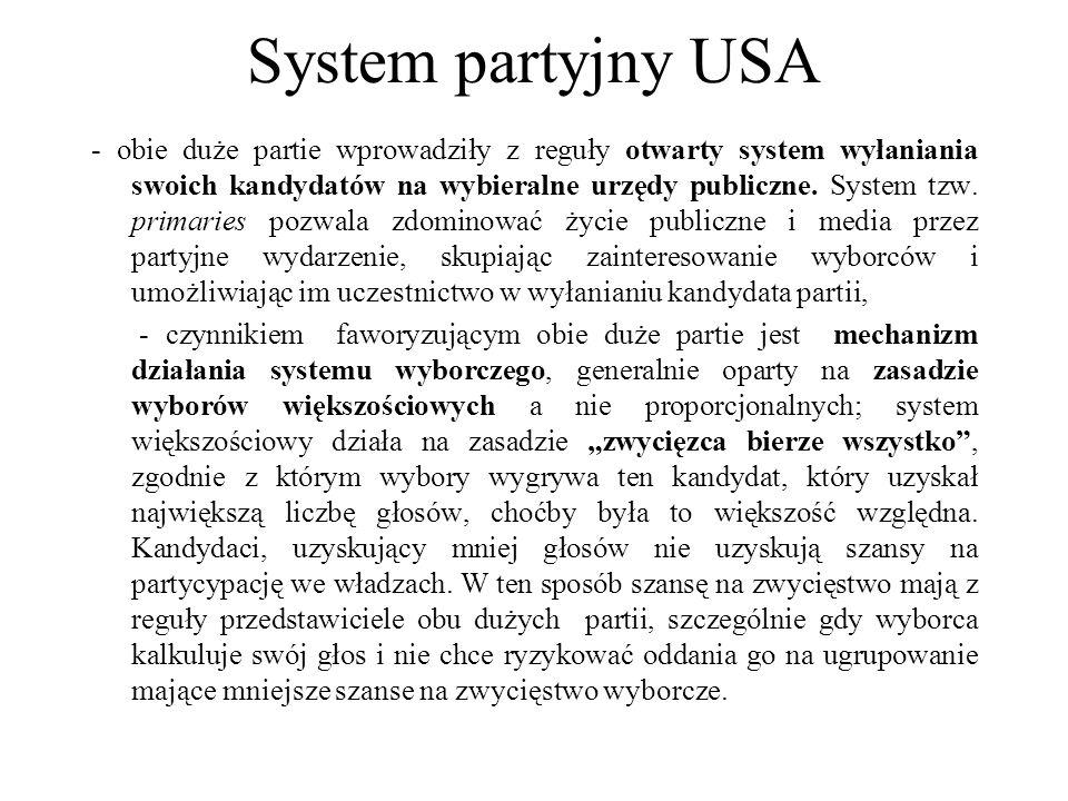 System partyjny USA - obie duże partie wprowadziły z reguły otwarty system wyłaniania swoich kandydatów na wybieralne urzędy publiczne.