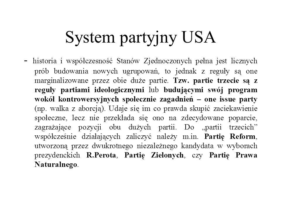 System partyjny USA - historia i współczesność Stanów Zjednoczonych pełna jest licznych prób budowania nowych ugrupowań, to jednak z reguły są one marginalizowane przez obie duże partie.