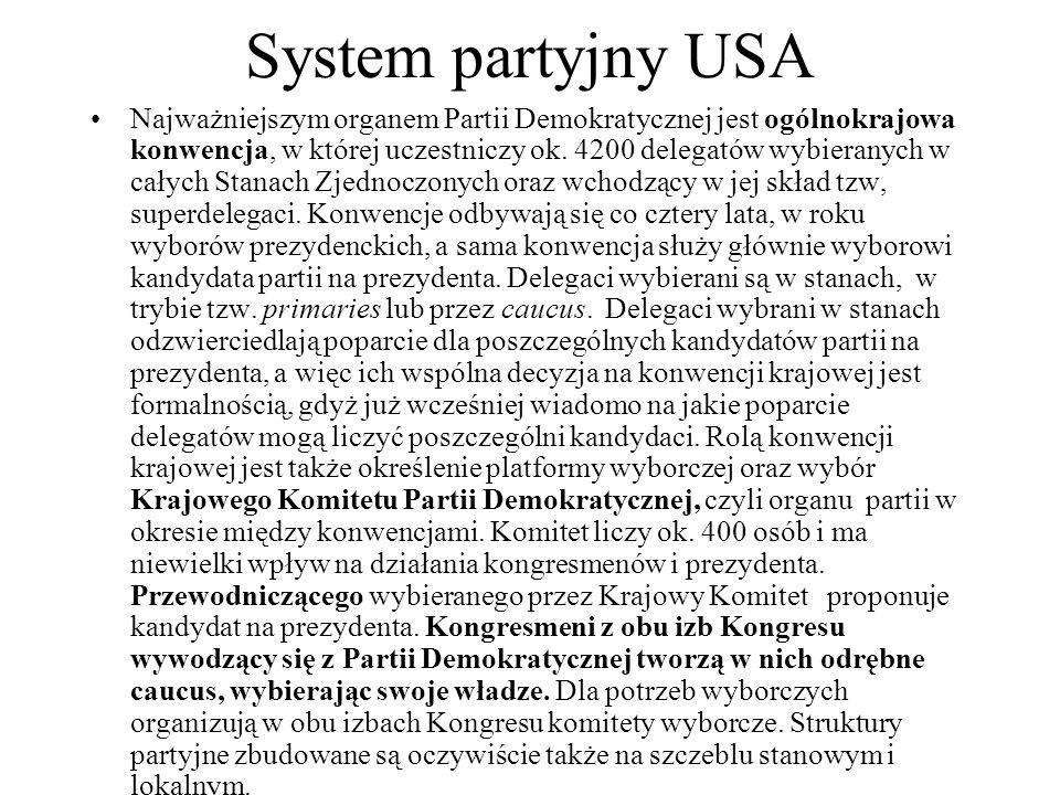 System partyjny USA Najważniejszym organem Partii Demokratycznej jest ogólnokrajowa konwencja, w której uczestniczy ok.