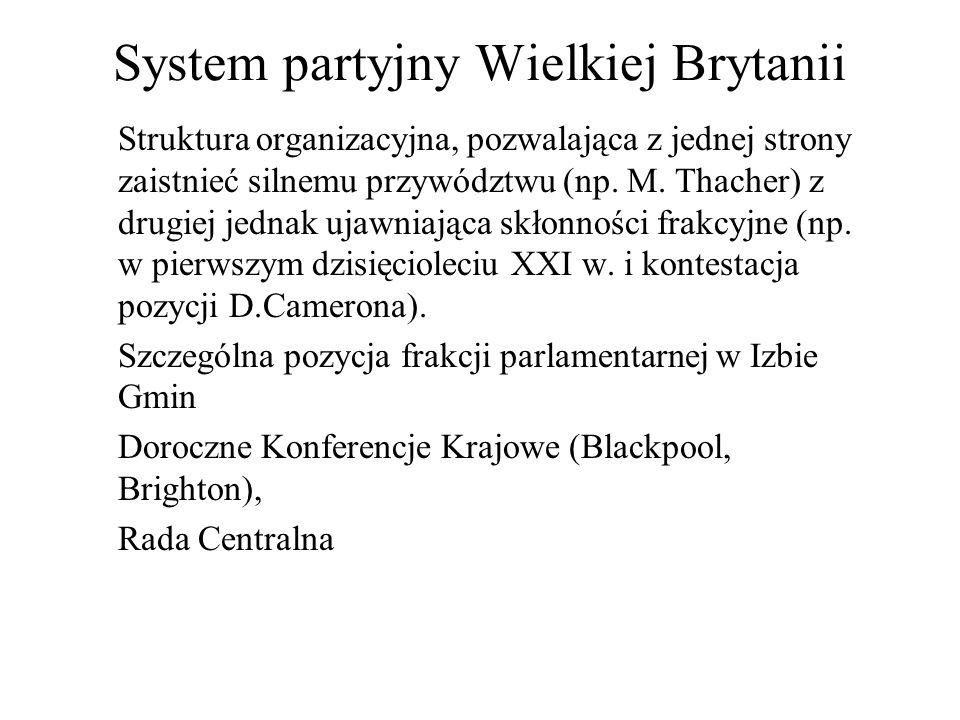 System partyjny Wielkiej Brytanii Struktura organizacyjna, pozwalająca z jednej strony zaistnieć silnemu przywództwu (np.