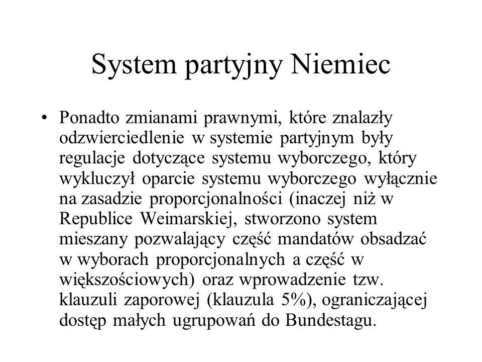 System partyjny Niemiec Ponadto zmianami prawnymi, które znalazły odzwierciedlenie w systemie partyjnym były regulacje dotyczące systemu wyborczego, który wykluczył oparcie systemu wyborczego wyłącznie na zasadzie proporcjonalności (inaczej niż w Republice Weimarskiej, stworzono system mieszany pozwalający część mandatów obsadzać w wyborach proporcjonalnych a część w większościowych) oraz wprowadzenie tzw.