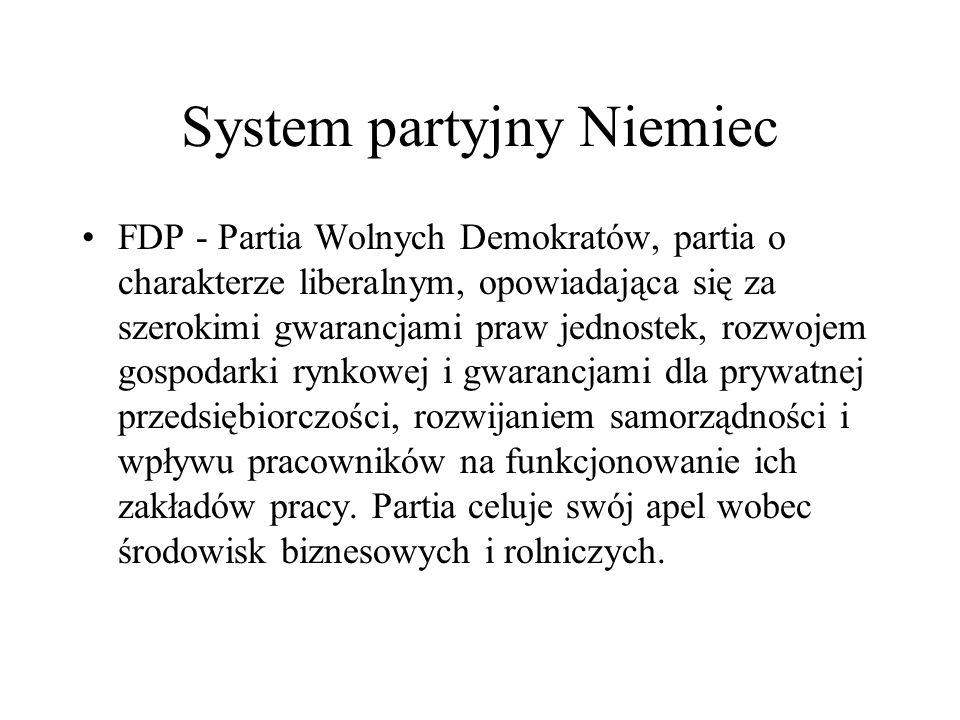 System partyjny Niemiec FDP - Partia Wolnych Demokratów, partia o charakterze liberalnym, opowiadająca się za szerokimi gwarancjami praw jednostek, rozwojem gospodarki rynkowej i gwarancjami dla prywatnej przedsiębiorczości, rozwijaniem samorządności i wpływu pracowników na funkcjonowanie ich zakładów pracy.