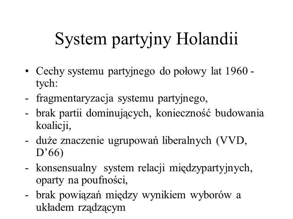 System partyjny Holandii Cechy systemu partyjnego do połowy lat 1960 - tych: -fragmentaryzacja systemu partyjnego, -brak partii dominujących, konieczność budowania koalicji, -duże znaczenie ugrupowań liberalnych (VVD, D'66) -konsensualny system relacji międzypartyjnych, oparty na poufności, -brak powiązań między wynikiem wyborów a układem rządzącym