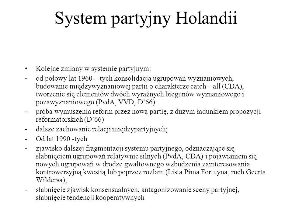 System partyjny Holandii Kolejne zmiany w systemie partyjnym: -od połowy lat 1960 – tych konsolidacja ugrupowań wyznaniowych, budowanie międzywyznaniowej partii o charakterze catch – all (CDA), tworzenie się elementów dwóch wyraźnych biegunów wyznaniowego i pozawyznaniowego (PvdA, VVD, D'66) -próba wymuszenia reform przez nową partię, z dużym ładunkiem propozycji reformatorskich (D'66) -dalsze zachowanie relacji międzypartyjnych; -Od lat 1990 -tych -zjawisko dalszej fragmentacji systemu partyjnego, odznaczające się słabnięciem ugrupowań relatywnie silnych (PvdA, CDA) i pojawianiem się nowych ugrupowań w drodze gwałtownego wzbudzenia zainteresowania kontrowersyjną kwestią lub poprzez rozłam (Lista Pima Fortuyna, ruch Geerta Wildersa), -słabnięcie zjawisk konsensualnych, antagonizowanie sceny partyjnej, słabnięcie tendencji kooperatywnych