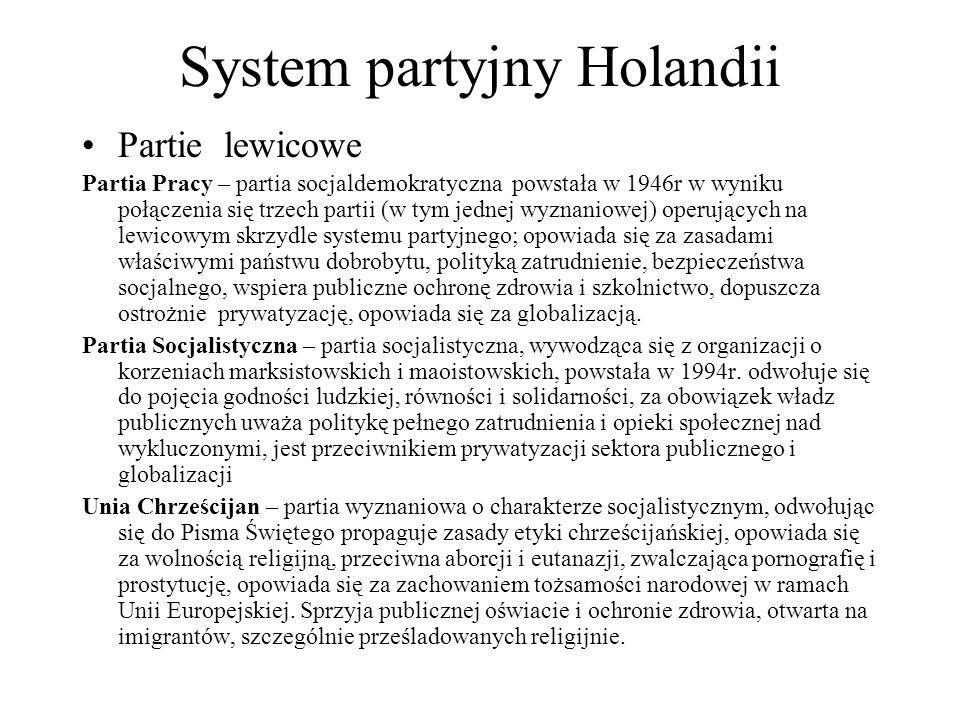System partyjny Holandii Partie lewicowe Partia Pracy – partia socjaldemokratyczna powstała w 1946r w wyniku połączenia się trzech partii (w tym jednej wyznaniowej) operujących na lewicowym skrzydle systemu partyjnego; opowiada się za zasadami właściwymi państwu dobrobytu, polityką zatrudnienie, bezpieczeństwa socjalnego, wspiera publiczne ochronę zdrowia i szkolnictwo, dopuszcza ostrożnie prywatyzację, opowiada się za globalizacją.