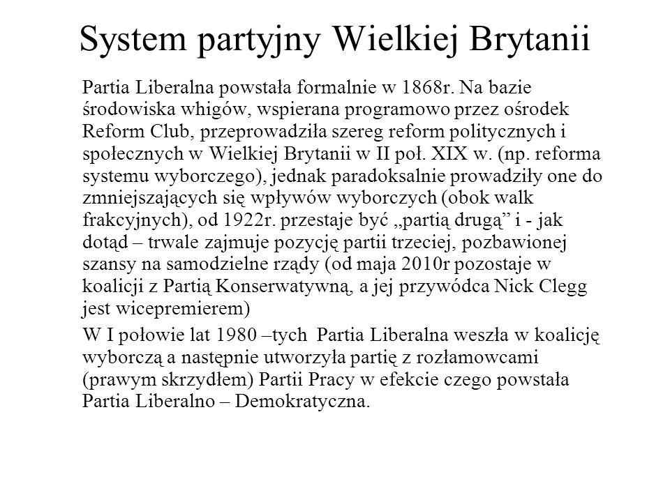 System partyjny Wielkiej Brytanii Partia Liberalna powstała formalnie w 1868r.