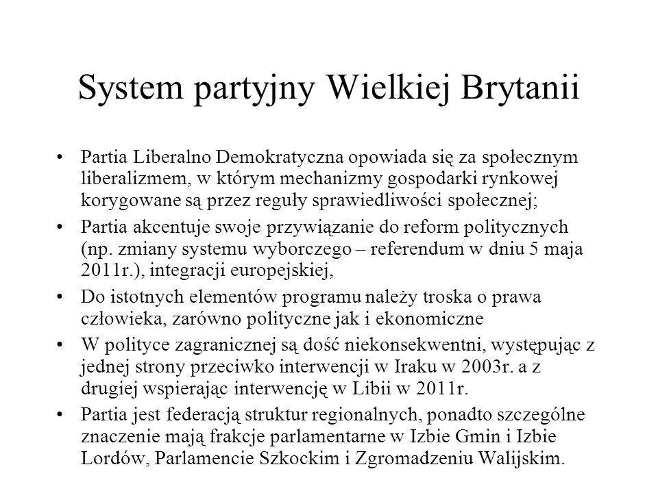 System partyjny Wielkiej Brytanii Partia Liberalno Demokratyczna opowiada się za społecznym liberalizmem, w którym mechanizmy gospodarki rynkowej korygowane są przez reguły sprawiedliwości społecznej; Partia akcentuje swoje przywiązanie do reform politycznych (np.