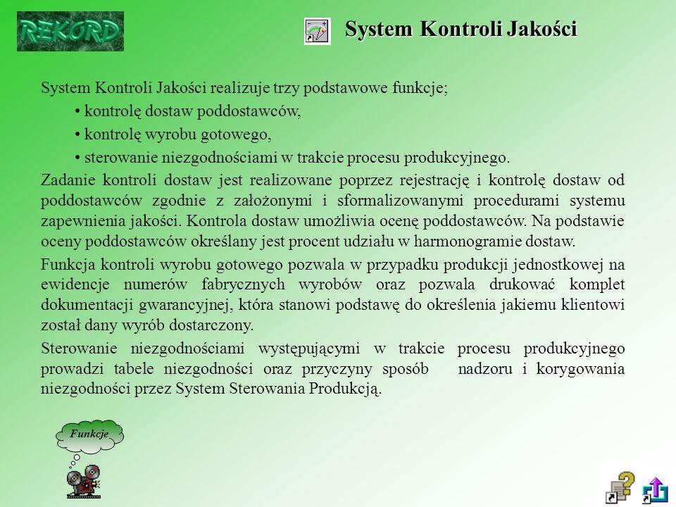System Kontroli Jakości System Kontroli Jakości realizuje trzy podstawowe funkcje; kontrolę dostaw poddostawców, kontrolę wyrobu gotowego, sterowanie niezgodnościami w trakcie procesu produkcyjnego.
