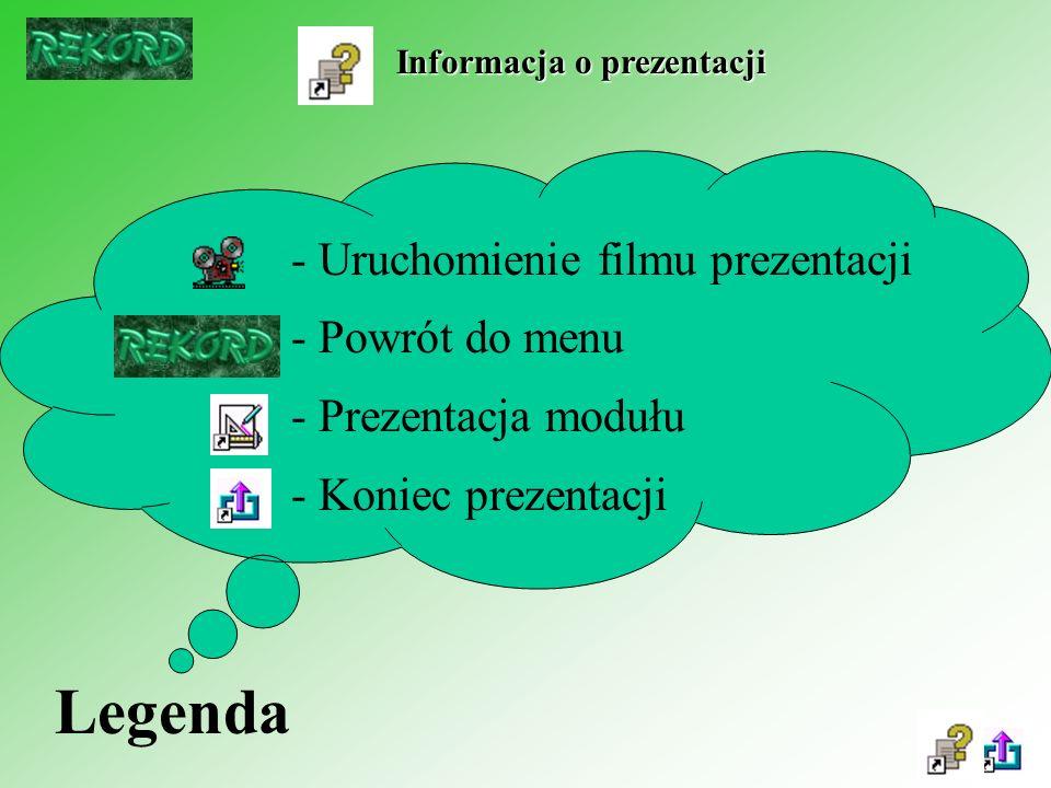 Informacja o prezentacji - Uruchomienie filmu prezentacji - Powrót do menu - Prezentacja modułu - Koniec prezentacji Legenda