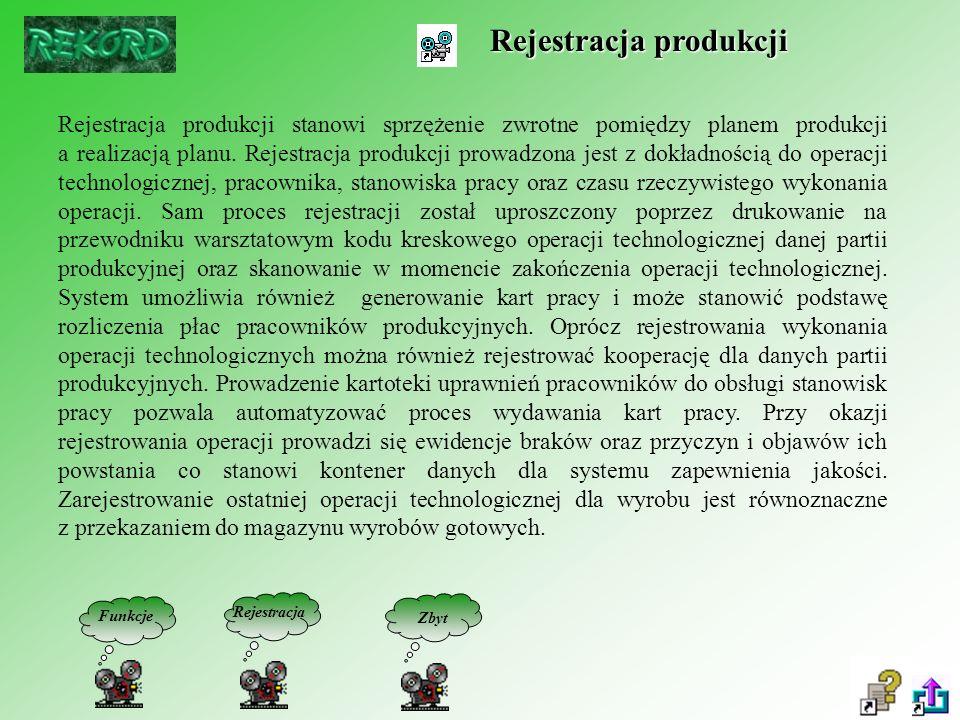 Rejestracja produkcji Rejestracja produkcji stanowi sprzężenie zwrotne pomiędzy planem produkcji a realizacją planu.