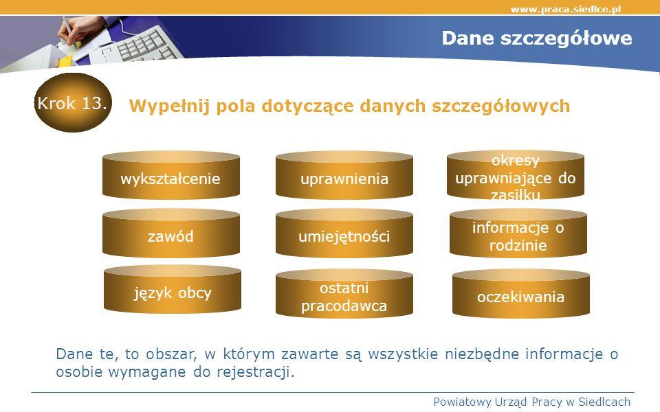 www.praca.siedlce.pl Powiatowy Urząd Pracy w Siedlcach Dane szczegółowe Wypełnij pola dotyczące danych szczegółowych Dane te, to obszar, w którym zawarte są wszystkie niezbędne informacje o osobie wymagane do rejestracji.