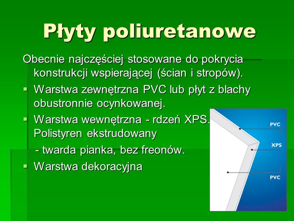 Płyty poliuretanowe Obecnie najczęściej stosowane do pokrycia konstrukcji wspierającej (ścian i stropów).  Warstwa zewnętrzna PVC lub płyt z blachy o